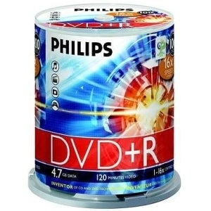 Philips DR4S6B00F/17 Philips 16x DVD+R Media - 4.7GB - 100 Pack