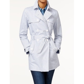 Tommy Hilfiger NEW Blue Striped Women's Medium M Belted Trench Coat