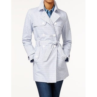 Tommy Hilfiger NEW Blue Women's Size Small S Belted Striped Trench