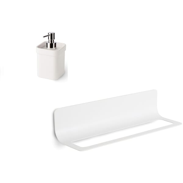 "WS Bath Collections Curva 5144+5152 Curva 19"" Wall Mounted Towel Bar - White / White"