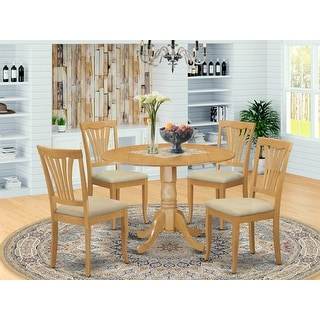 Link to Oak Round Kitchen Table and 4 Kitchen Chairs 5-piece Dining Set Similar Items in Dining Room & Bar Furniture