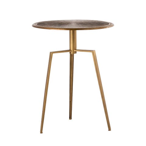 Pasargad Home Delos Iron Brass Color Side Table