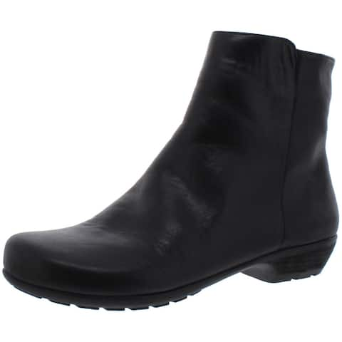 Walking Cradles Womens Elsie Ankle Boots Leather Pull On - Black