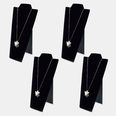 """4 pf Black Velvet Covered Padded Wood Necklace Display with Easel 4 1/4""""W x 8 7/8""""H"""