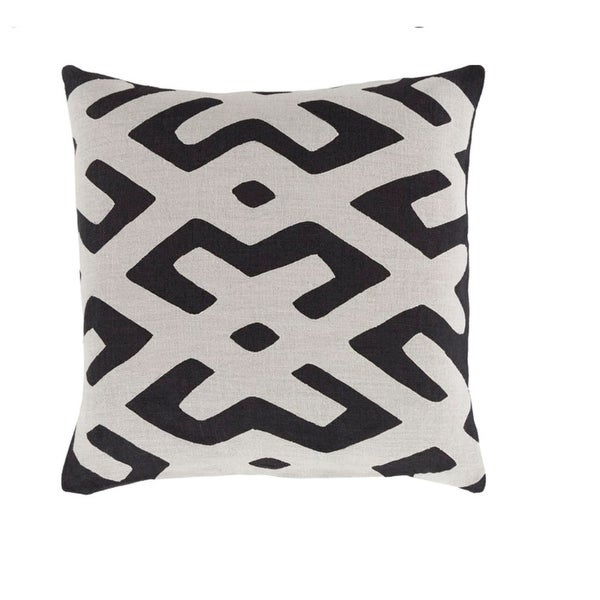 "22"" Tribal Rhythm Piano Key Black and Mist Gray Woven Decorative Throw Pillow-Down Filler"