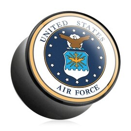 U.S. Air Force Logo Print Inlayed Black Acrylic Plug (Sold Individually)