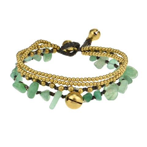 Handmade Brass Beaded Jingle Bell Bracelet (Thailand)