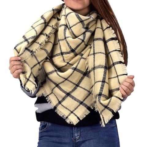 Warm Woven Oversized Tartan Plaid Blanket Scarf Shawl