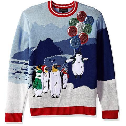 Blizzard Mens Sweater Blue Size Large L Crew Christmas Penguin Balloon