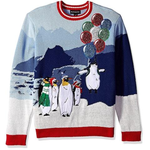 Blizzard Mens Sweater Blue Size XL Crew Christmas Penguin Balloon