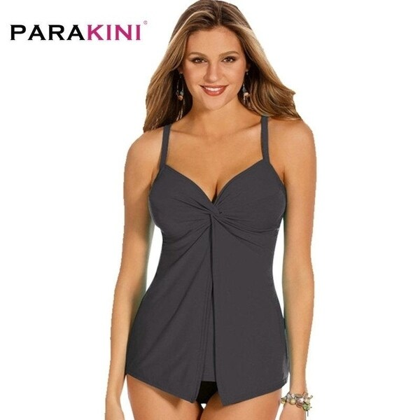 8c6484ae27f46 PARAKINI Tankini Bikini Set 2018 Plus Size Swimsuit Women Swimwear Shorts Bathing  Suit Retro Printed Suit