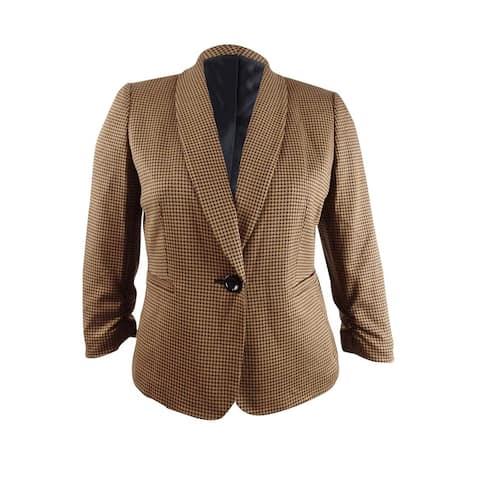 Kasper Women's Check Print Jacket (12, Black/Caramel)