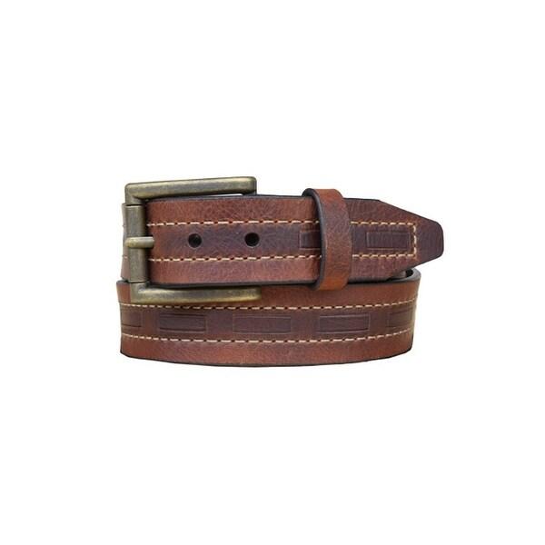 Vintage Bison Western Belt Mens Tobasco Leather Brass Saddle
