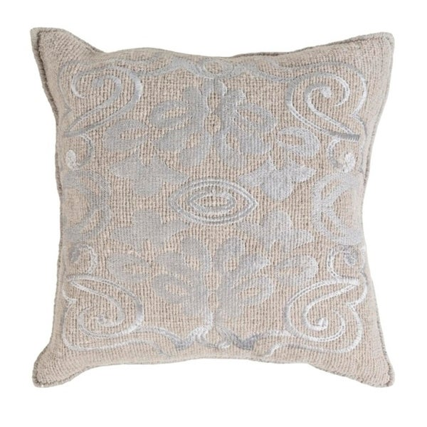 """18"""" Elephant and Oyster Gray Woven Decorative Throw Pillow"""
