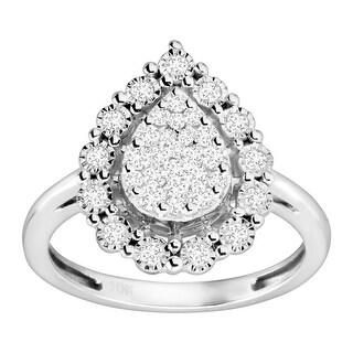 1/2 ct Diamond Tear Drop Ring in 10K White Gold