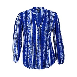 Alfani Women's Long Sleeve Pleated Button-Down Top - snake lace navy - 14