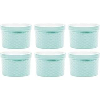 Palais Dinnerware Ramekins Collection Porcelain Soufle Dishes -4 Oz - Set of 6, Light Blue - Dots Finish
