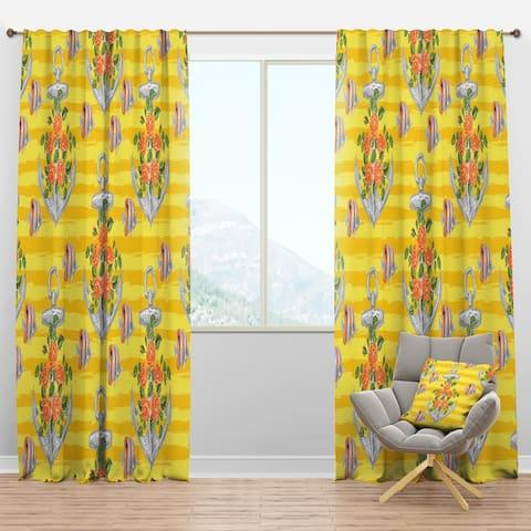 Designart 'Yellow Anchor Pattern' Nautical & Coastal Blackout Curtain Panel