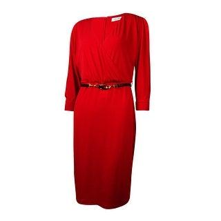 Calvin Klein Women's Belted Cold-Shoulder Surplice Jersey Dress - Red