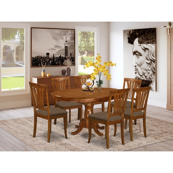 POAV7-SBR-C 7-Piece Dining Set - Kitchen Table and 6-dining Chairs (Chair Option). Opens flyout.
