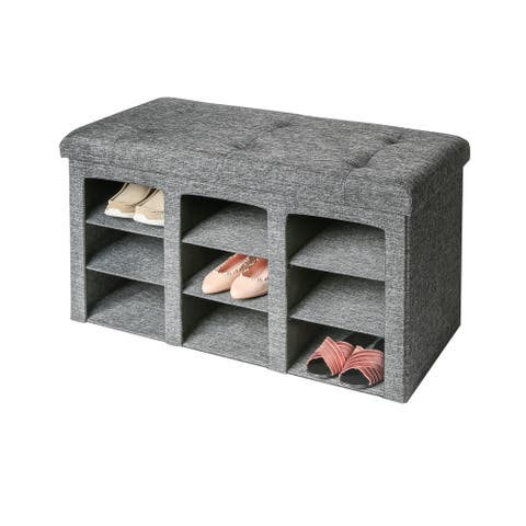 Porch & Den Dustin Grey 9-Bin Tufted Entryway Shoe Storage Bench
