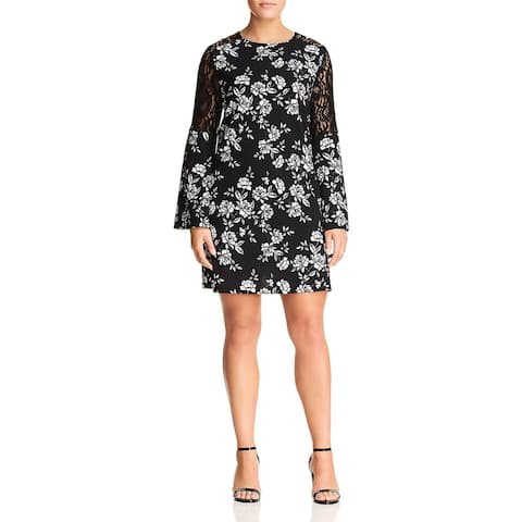 Love...Ady Womens Plus Party Dress Bell Sleeve Lace Inset