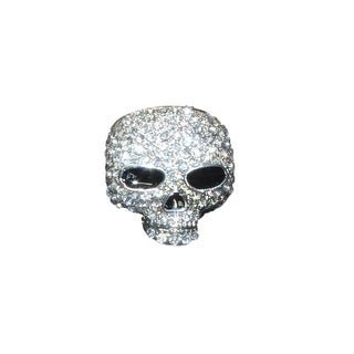 eli k SKULL HEAD Silver Plate & Clear Crystal Ring Size 7