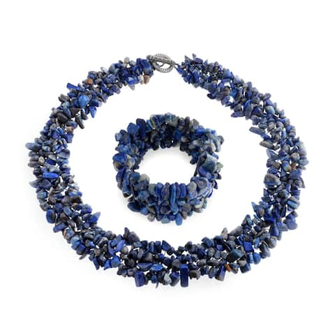 Chunky Blue Lapis Stone Chips Statement Bib Necklace For Women Collar Stretch Bracelet For Women Set 18 Inch