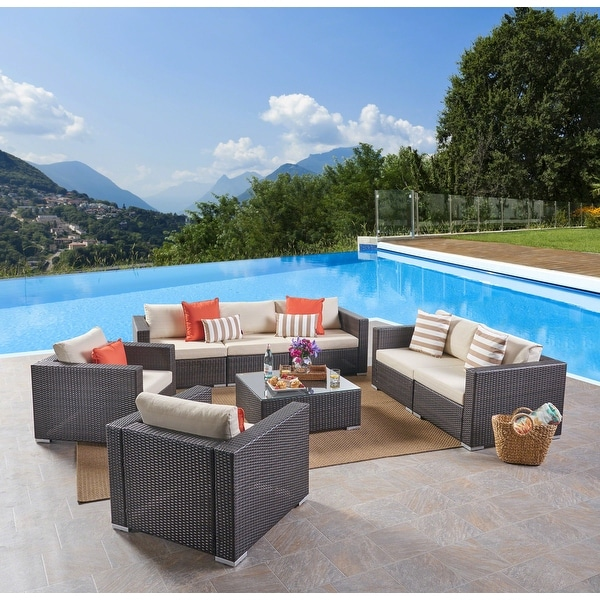 Santa Rosa Outdoor 7 Seater Wicker Sofa Chat Set by Christopher Knight Home. Opens flyout.