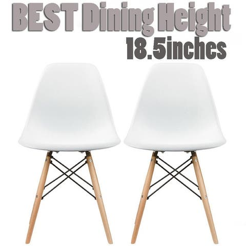 Plastic Eiffel Dining Chairs with Wood Dowel Legs (Set of 2)