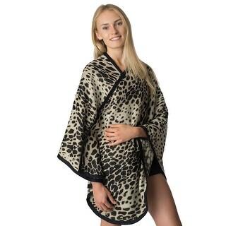 Womens Leopard Blanket Poncho