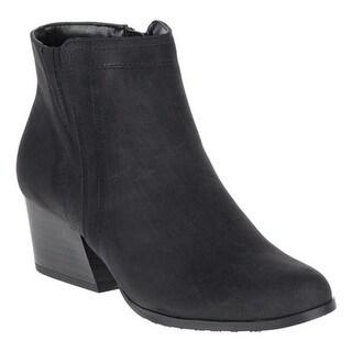 Soft Style Women's Gleda Ankle Boot Black Faux Nubuck