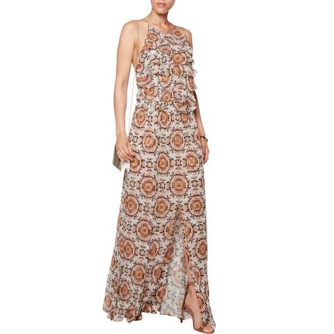 L Agence Adriana Ruffle Silk Maxi Dress Size 2