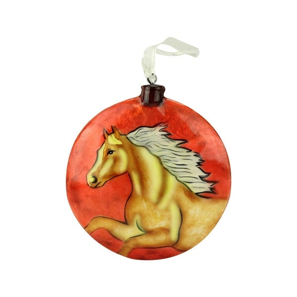 """4"""" Country Wildlife Shiny Red Wild Horse Capiz Shell Disc Christmas Ornament(100mm)"""