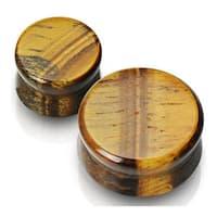 Solid Tiger's Eye Semi Precious Stone Saddle Plug (Sold Individually)