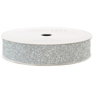 "American Crafts Glitter Paper Tape 3yd-Silver .625"" - Silver"