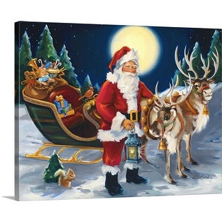 """Santa with lantern"" Canvas Wall Art"