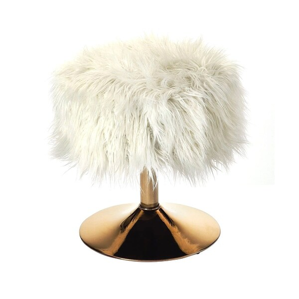 Modern White Faux Fur Round Stool in Polished Gold Finish
