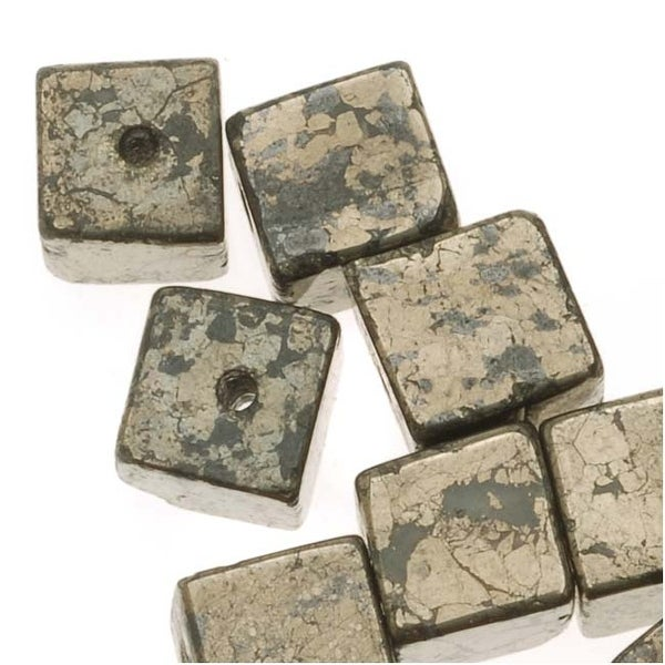 Gemstone Pyrite 'Fool's Gold' 6mm Cube Beads - 30 Beads (Bronze-Brown)