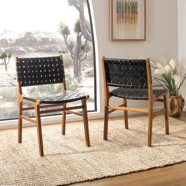 Safavieh Taika Leather Dining Chair - Black. Opens flyout.