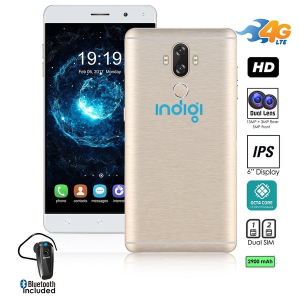 "Indigi Unlocked 4G LTE 6"" Android 7 SmartPhone 8Core @ 1.3GHz (13MP CAM + Fingerprint Scan + 2SIM + Bluetooth Headset"