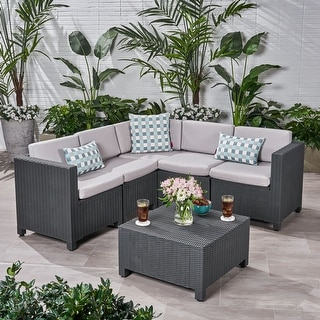 Link to Waverly Outdoor 5-seater Sectional Set with Cushions by Christopher Knight Home Similar Items in Patio Sets