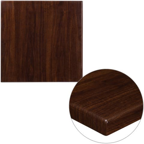 """24"""" Square High-Gloss Walnut Resin Table Top with 2"""" Thick Drop-Lip - 24""""W x 24""""D x 2""""H"""