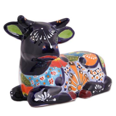 "Handmade Vibrant Cow Ceramic Sculpture (Mexico) - 7.75"" H x 12.5"" W x 6.75"" D"