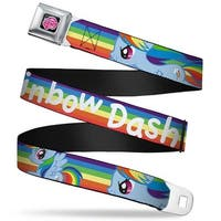 My Little Pony Logo Full Color Black Pink Rainbow Dash W Rainbow Streak Seatbelt Belt