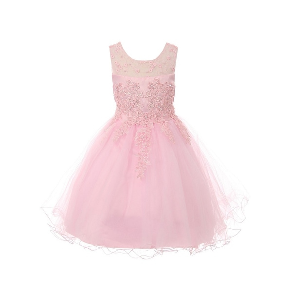 99f0f4e8d Shop Girls Pink Pearl Beaded Embroidered Lace Junior Bridesmaid Dress -  Free Shipping Today - Overstock.com - 23088810