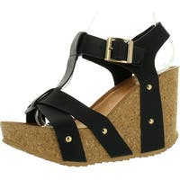 Forever Maya-13 Womens Adjustable T-Strap Wedge Heel Platform Sandals