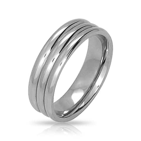 Faux Stacked Grooved Band Wedding Ring For Couples Stainless Steel 8MM