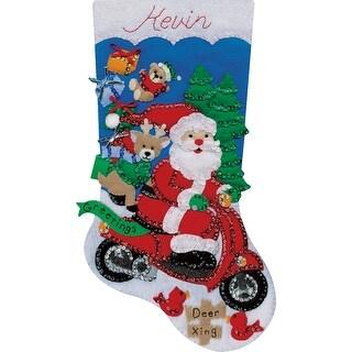 "Scooter Santa Stocking Felt Applique Kit-18"" Long"