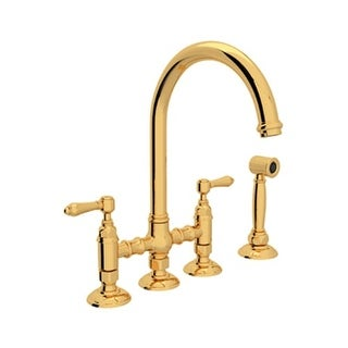 Rohl A1461LMWS-2 Country Kitchen Bridge Faucet with Side Spray and Metal Lever Handles